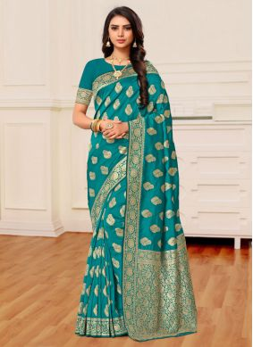 Teal Party Classic Saree
