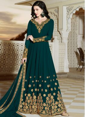 Teal Patch Border Floor Length Anarkali Suit