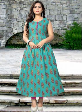 Teal Print Cotton Casual Kurti