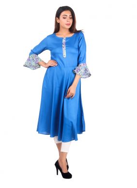 Teal Rayon Wedding Casual Kurti