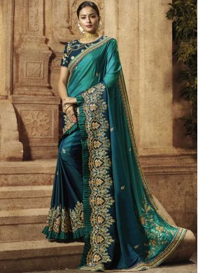 Teal Reception Traditional Saree