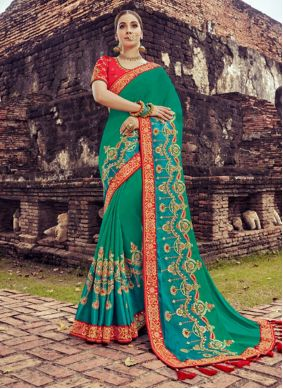 Teal Resham Traditional Saree