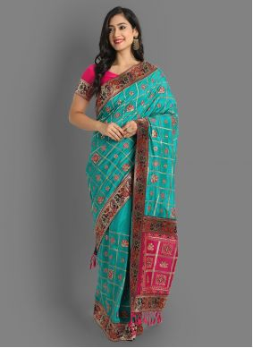 Teal Embroidered Silk Saree For Ceremonial