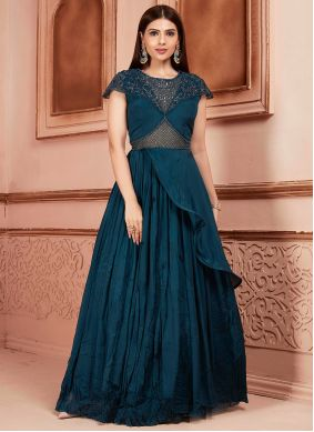 Teal Thread Georgette Readymade Suit