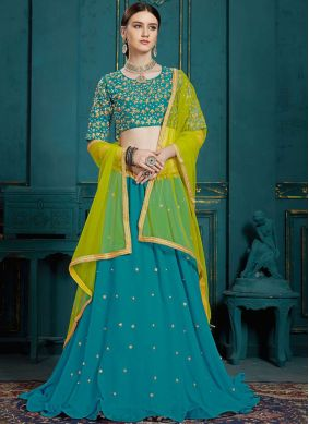 Teal Thread Work A Line Lehenga Choli