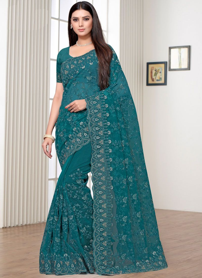 Teal Trendy Saree