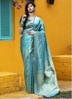 Teal Weaving Banarasi Silk Saree