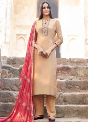 Tempting Embroidered Muslin Salwar Suit
