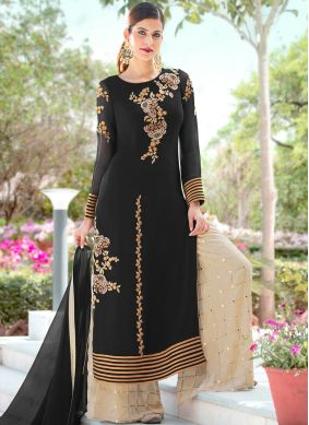 Tempting Faux Georgette Black Embroidered Palazzo Salwar Kameez