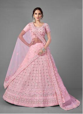 Pink Thread Georgette A Line Lehenga Choli