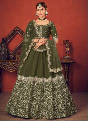 Thread Green Art Silk Lehenga Choli
