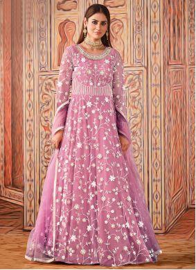 Thread Net Floor Length Designer Suit in Pink