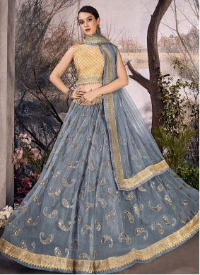 Grey Thread Net Lehenga Choli