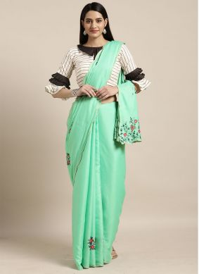 Thread Turquoise Casual Saree