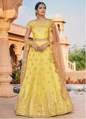 Yellow Thread Wedding Bollywood Lehenga Choli
