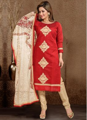 Thread Work Chanderi Salwar Suit in Maroon