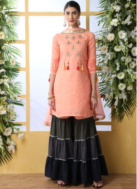 Thread Work Peach Cotton Designer Palazzo Suit