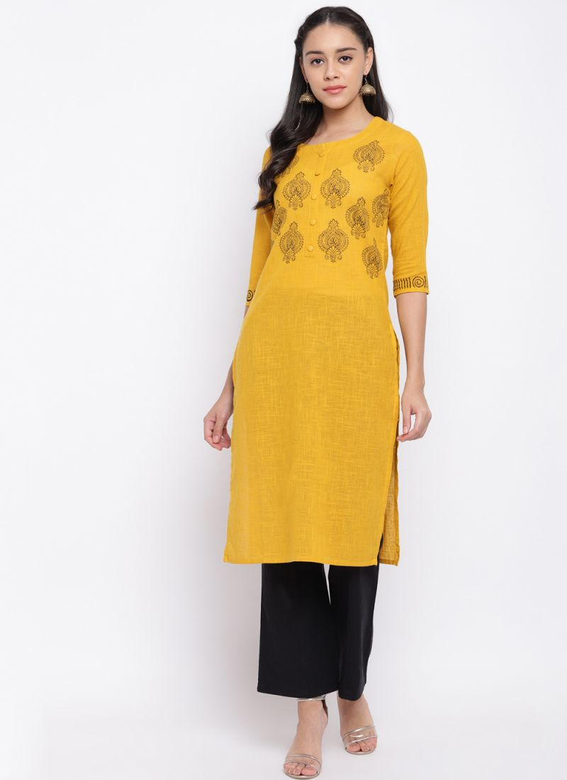 Thread Yellow Cotton Party Wear Kurti