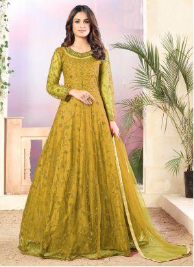 Thread Yellow Net Anarkali Salwar Suit