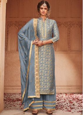 Thrilling Embroidered Jacquard Palazzo Suit