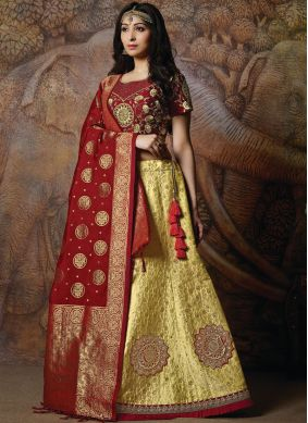 Thrilling Embroidered Yellow Silk Designer Lehenga Choli