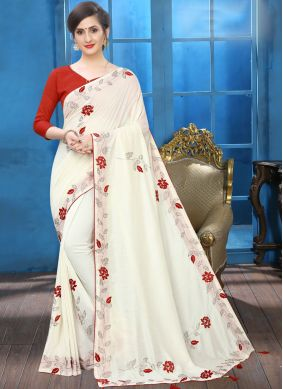 Thrilling Off White Party Traditional Saree