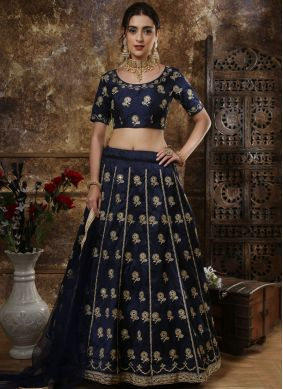 Tiptop Art Silk Embroidered Blue Lehenga Choli