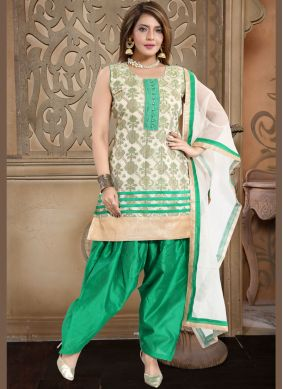 Tiptop Banglori Silk Fancy Cream and Sea Green Readymade Suit