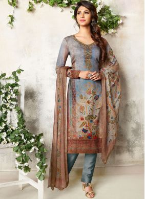 Tiptop Cotton Satin Abstract Print Churidar Designer Suit