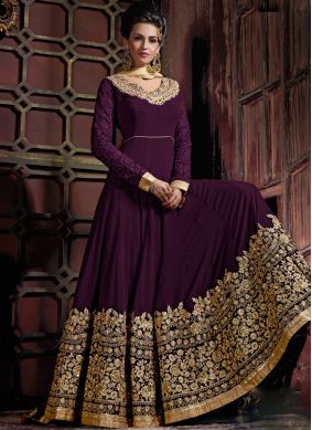 Titillating Georgette Purple Anarkali Salwar Kameez