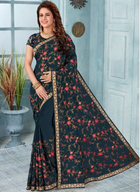 Titillating Grey Embroidered Faux Georgette Classic Designer Saree