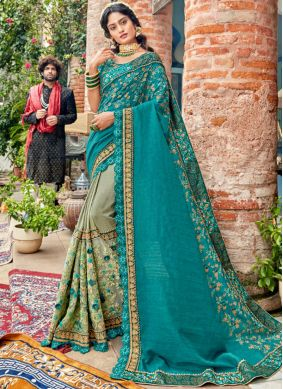 Titillating Patch Border Green and Sea Green Faux Georgette Classic Saree