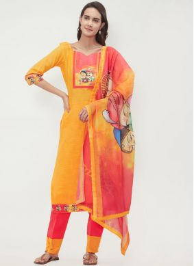 Titillating Print Casual Churidar Suit