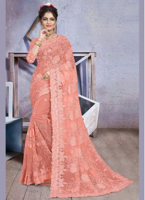 Traditional Designer Saree Embroidered Net in Pink