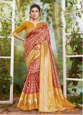 Maroon Traditional Designer Saree For Festival