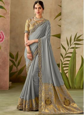 Traditional Designer Saree Patch Border Art Silk in Grey