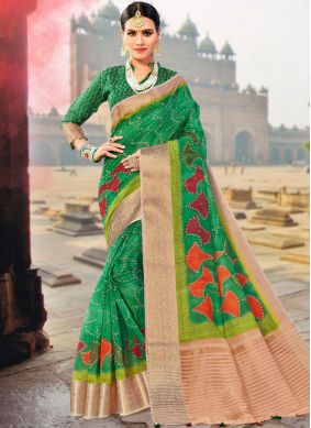 Traditional Designer Saree Weaving Fancy Fabric in Green