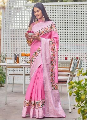 Traditional Saree Digital Print Fancy Fabric in Pink