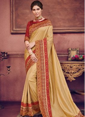 Traditional Saree Embroidered Art Silk in Beige