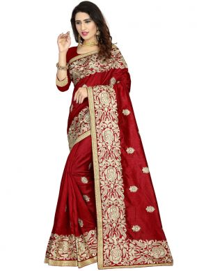 Traditional Saree Embroidered Art Silk in Maroon