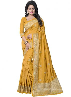 Traditional Saree Embroidered Art Silk in Mustard