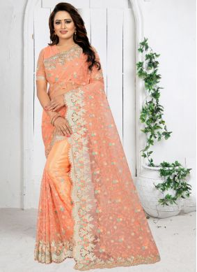 Traditional Saree Embroidered Net in Peach