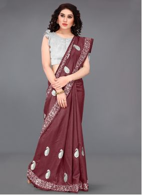 Traditional Saree Embroidered Silk in Maroon