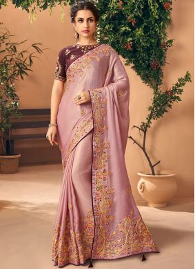 Traditional Saree Embroidered Silk in Peach
