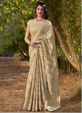 Beige Traditional Saree For Ceremonial