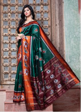 Green Traditional Saree For Engagement