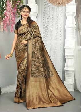 Black Art Silk Traditional Saree For Engagement