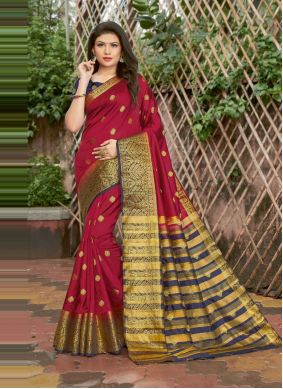Maroon Traditional Saree For Festival