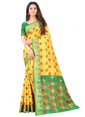 Yellow Silk Traditional Saree For Festival