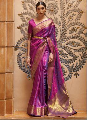 Purple Art Silk Traditional Saree For Festival